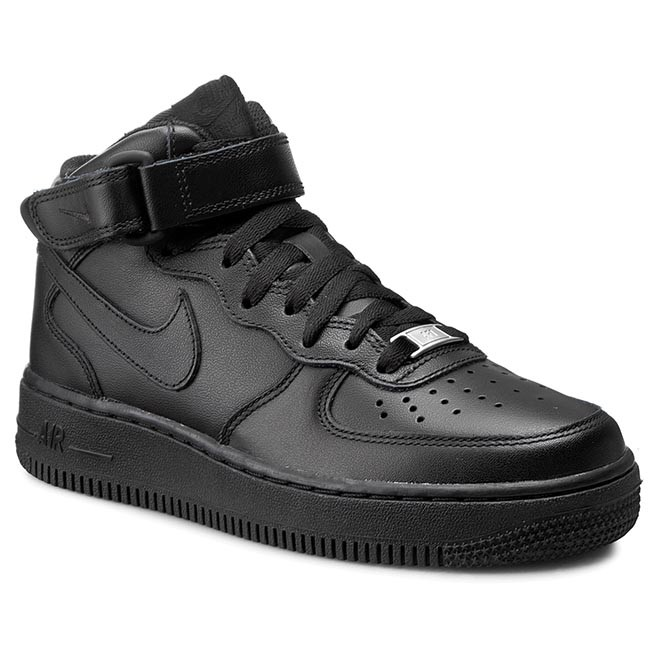 bb3cf4c1256 Обувки NIKE - Air Force 1 Mid '07 LE 366731 001 Black/Black - С ...